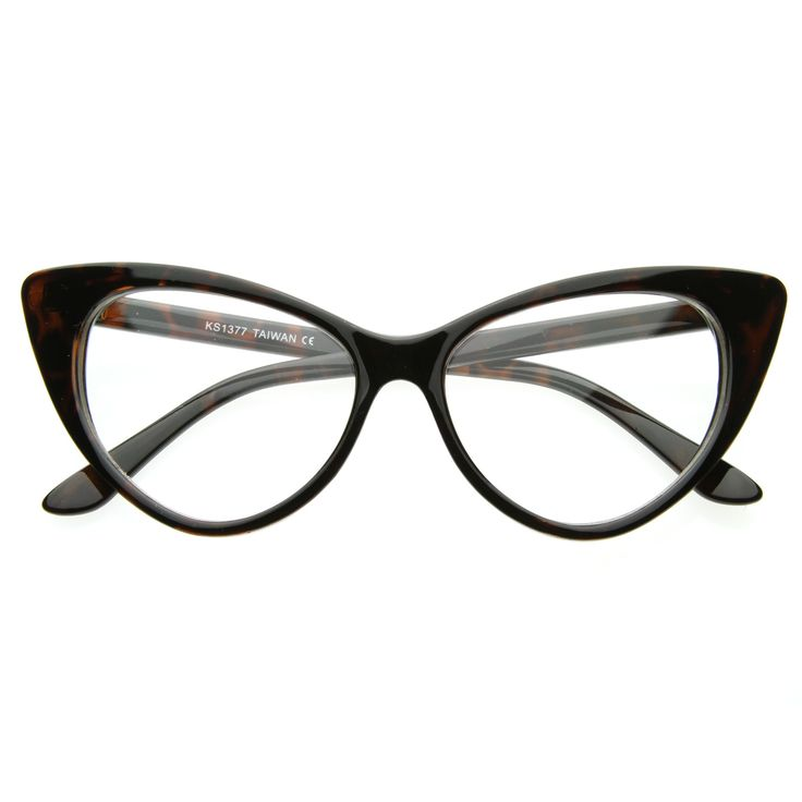 1950's Vintage Mod Fashion Cat Eye Clear Lens Glasses 8435 from zeroUV
