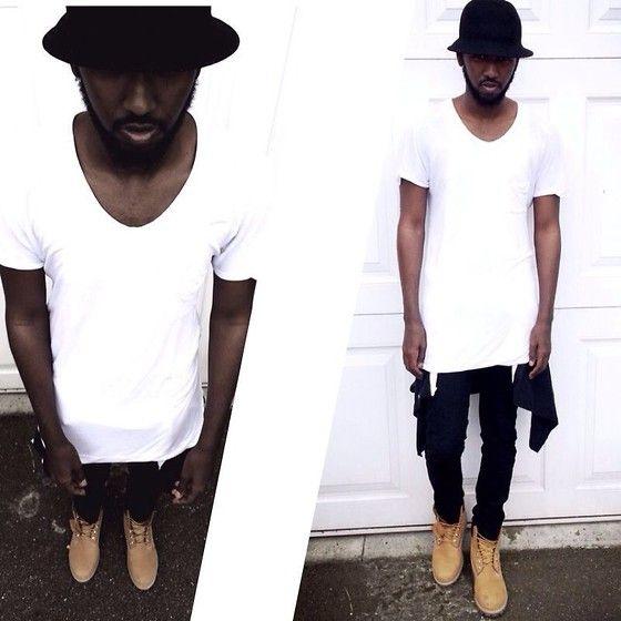 Get this look: http://lb.nu/look/6137989  More looks by Abdulqadir Abuukar: http://lb.nu/abdulqadir  Items in this look:  Zara Long White T Shirt, Topman Black Skinny Jeans, Timberland Boots   #chic #street #bucket #hat #blackandwhite #fashion #london #dope #swag