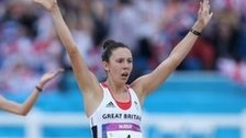 Samantha Murray celebrates winning Olympic silver in the modern pentathlon