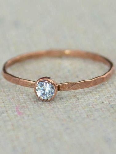 """Delicate CZ Diamond Ring (April's Mother's/Birthstone Ring) Minimal & Simple - Pure Copper, Rustic, Everyday Ring. Perfect for a flash of copper and color on the hand, without being to """"much."""" - Daint"""