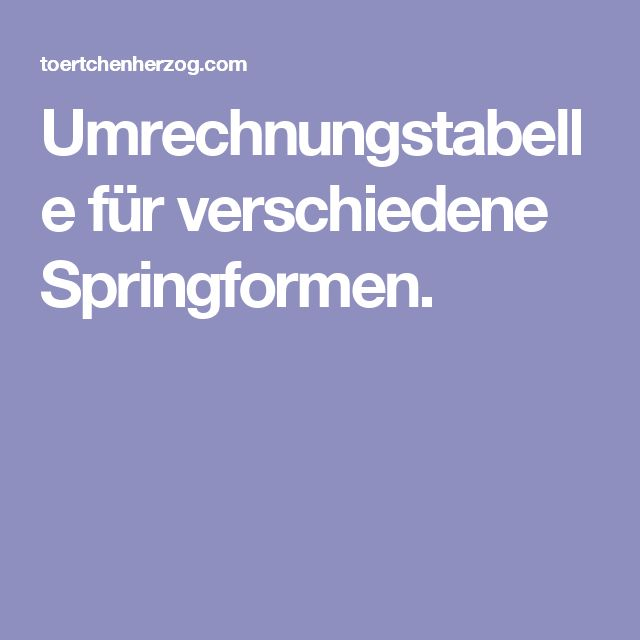 Umrechnungstabelle für verschiedene Springformen.
