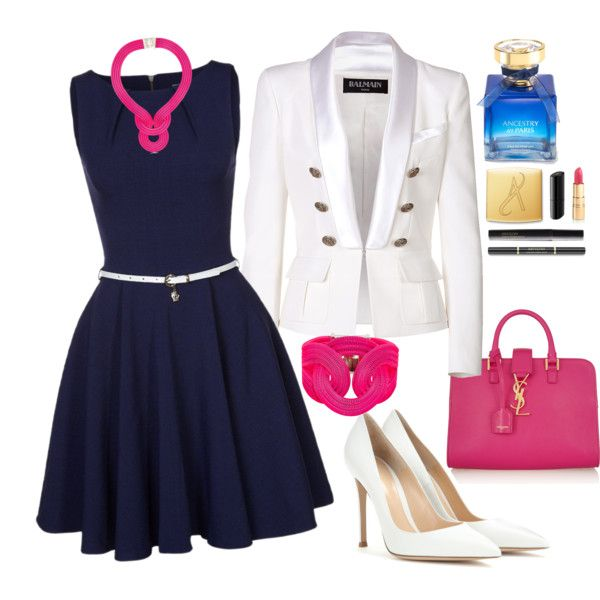 Navy, White, Fuchsia by veradediamant on Polyvore featuring polyvore, moda, style, Closet, Balmain, Gianvito Rossi, Yves Saint Laurent and Lara Bohinc