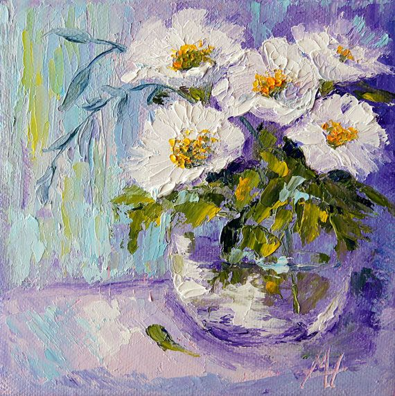 Floral oil painting White posy still life palette by artbymarion