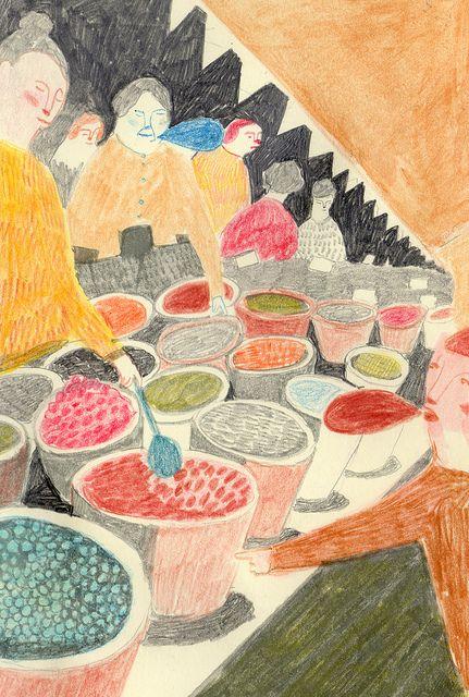 Sketchbook work- marketplace by Melissa Castrillon