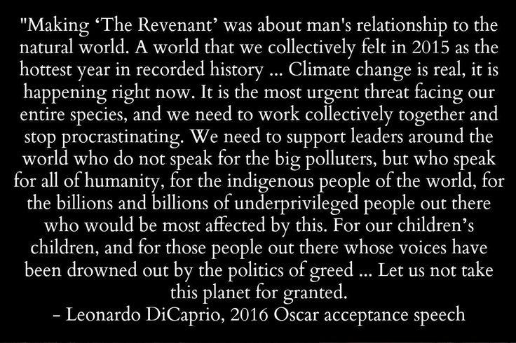 Leonardo DiCaprio, Oscars speech