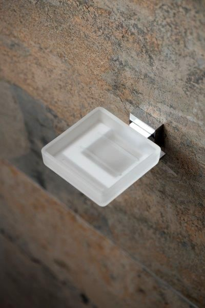 Square Frosted glass soap dish and holder by VADO