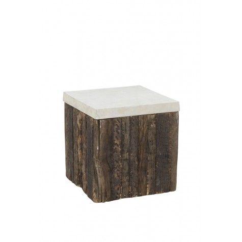"BEAM Side Table Wood w/Raw Nickel,16x16x16.5""H - Light & Living"