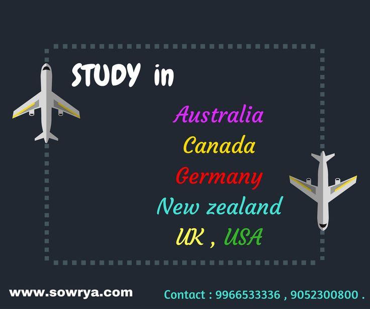 Oveseas education contact - Sowrya consultancy www.sowrya.com