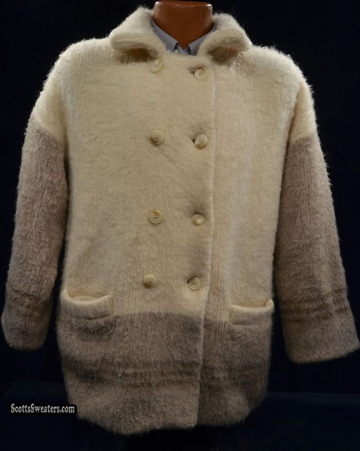 611-055 Women's Ivory & Tan Douhle Breasted Icelandic Wool Peacoat With Nylon Lining