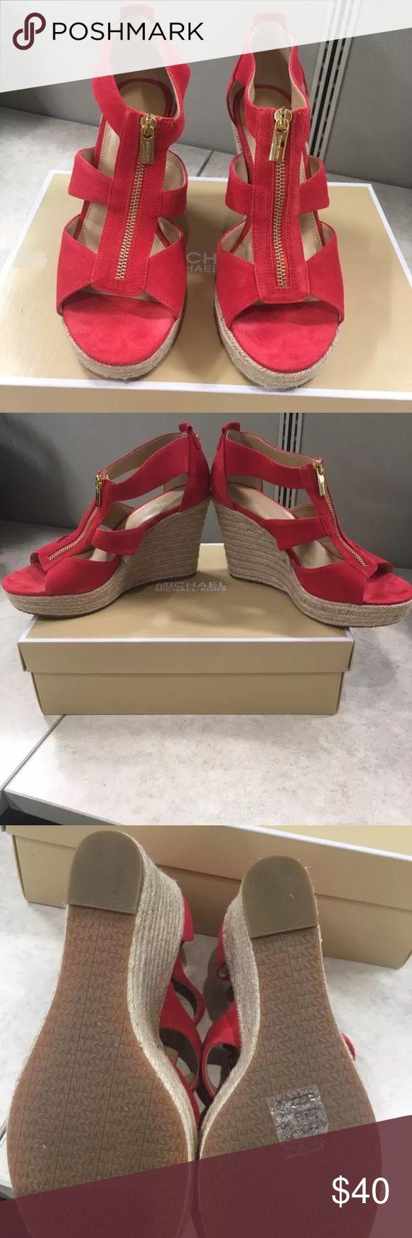 Michael Kors Damita Wedge Sandals size 10 Beautiful red suede Michael Kors Dakota style wedge sandals. Worn once on carpet. Michael Kors Shoes Wedges