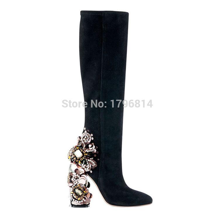Brand fashion luxe pailletten kralen crystal dikke hakken laarzen fashion zwart suede hoge hak laarzen vrouwen winter laarzen in  van vrouwen laarzen op AliExpress.com | Alibaba Groep