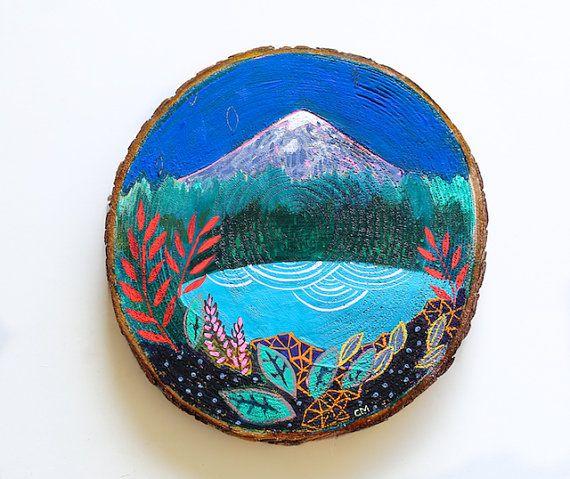 Mini original mountain landscape, painting on cedar, wood wall art, mountains