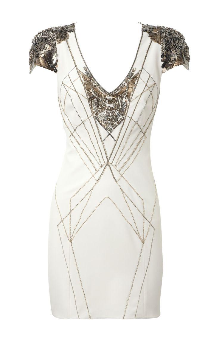 Karen Millen All Jewel artwork dress Ivory,Karen Millen Outlet,Karen Millen Outlet Store
