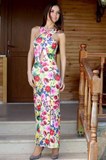 Desenli Sarı Elbise S-16Y0950001