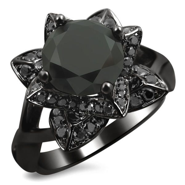 Noori 14k Black Gold 2 1 3ct Tdw Black Diamond Lotus Engagement Ring