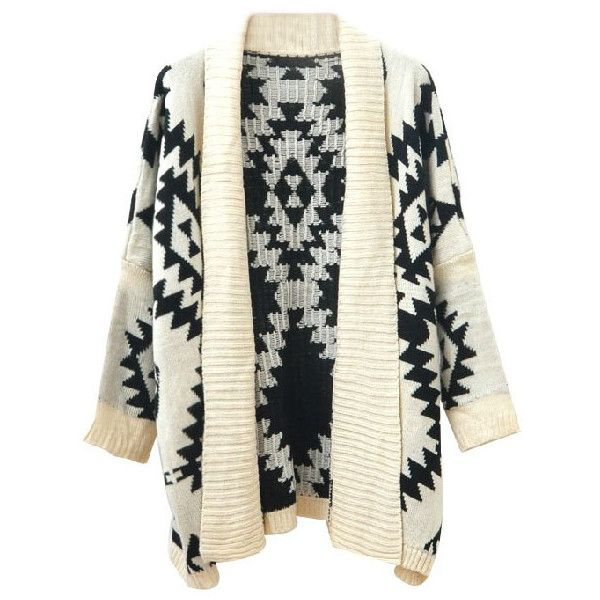 Chicnova Fashion Aztec Cardigan (€17) ❤ liked on Polyvore featuring tops, cardigans, outerwear, jackets, sweaters, chicnova, long knit cardigan, long open front cardigan, long sleeve knit tops and long aztec cardigan