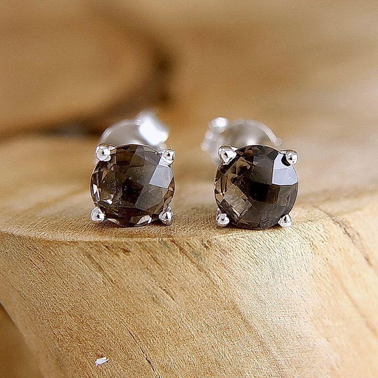 Boucles d'oreilles quartz fumé en argent massif Puces d'oreille avec pierre marron Bijou minimaliste : Boucles d'oreille par freesize-bijoux