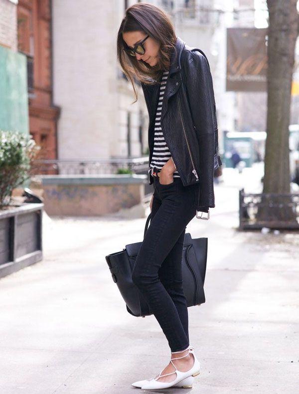 steal the look: skinny jeans e flat de bico fino, não tem como errar apostando numa sapatilha de bico fino, é elegante naturalmente e perfeita para qualquer ocasião do dia-a-dia - love the skinny jeans, the striped t-shirt, the jacket and the flats: natu
