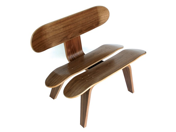 125 best design images on pinterest armchairs funky for Skateboard chair plans