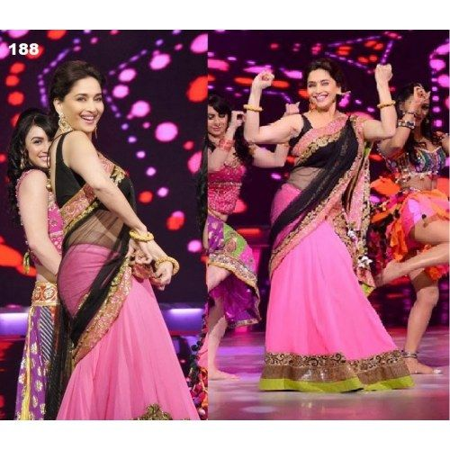 INDIAN BOLLYWOOD STUNNING LOOK  MADHURI REPLICA SAREE LOOKING SIZZLING  LEHENGA CHOLI  SARi