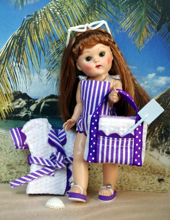 """~GoiN' To THe BeaCH!~ in PURPLE! Sunsuit, BeachCoat, Glasses, Bag, Towel for a Vogue 7.5"""" vintage or Vintage Reproduction Ginny DoLL. Also fits Nancy Ann Muffie and Madame Alex. 7.5"""" dolls. At my website www.karmelapples.com and my Etsy shop now. A matching set of purple flip-flops are also available for her and I can put them on Etsy or you can buy from my site. Free shipping on Etsy for the month of August with all purchases over $40.00. just enter the promo code on my shop page."""