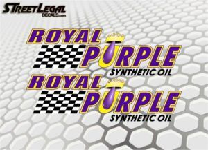 "2 Royal Purple Synthetic Oil 9"" Vinyl Stickers"