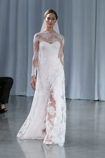 Monique Lhuillier Fall Winter 2013 - Kayla - love the lace detailing on top, but not with long sleeves