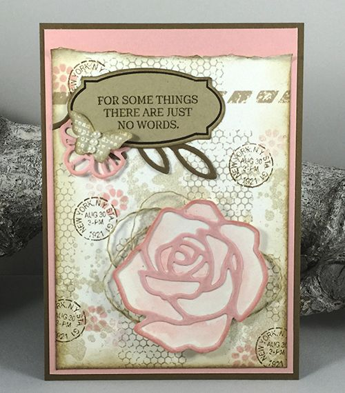 Kaart gemaakt met materialen van Stampin'Up! Sets: Rose Wonder, Butterfly Basics. Dies: Rose Garden Thinlits Dies