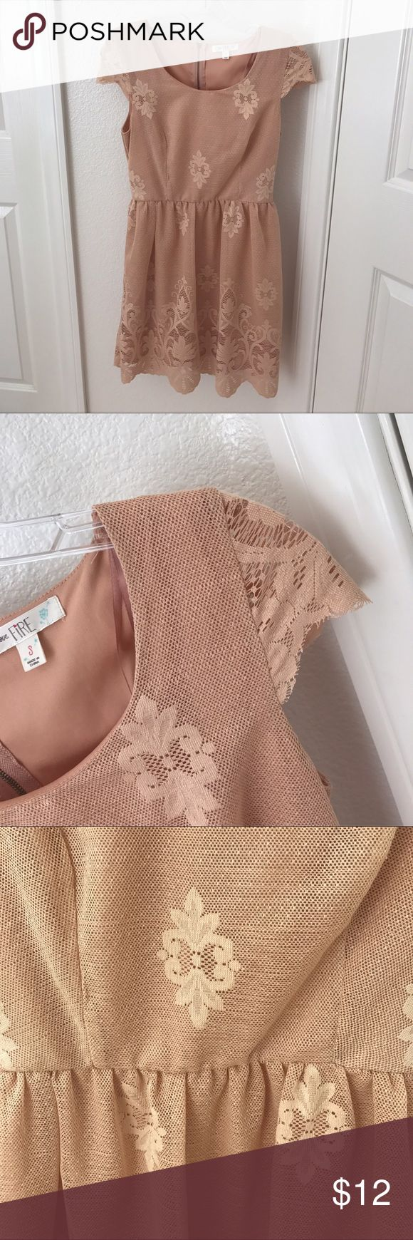 Peachy tan lace dress Good condition. I wore this for all of an hour to church!!! Dresses Mini