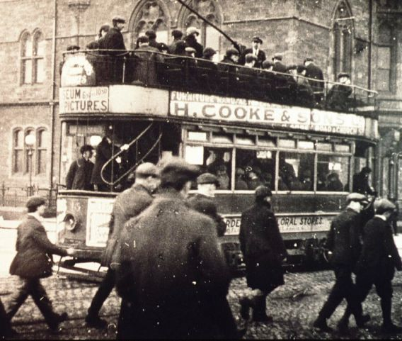 A Barrow electric tram outside Barrow Town Hall around the time of the First World War SUBMITTED tram-jul-23