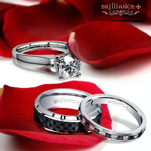 Brilliance Made A Solitaire Engagement Ring With Black And White Diamond To Match The Mens Carbon Fiber Wedding Band