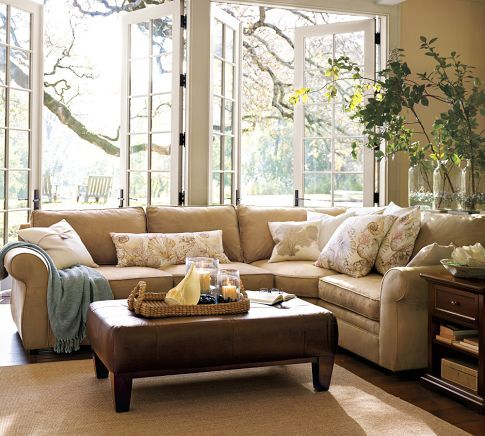 With a few colorful throw pillows...I love this couch!!!: Barns Living, The Doors, Potterybarn, Living Rooms, Window, French Doors, Memorial Tables, Families Rooms, Pottery Barns