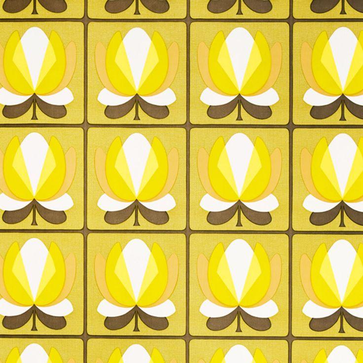 MID CENTURY MODERN DANISH Vintage Original Yellow Geo Mod Wallpaper   LAST  2 | EBay