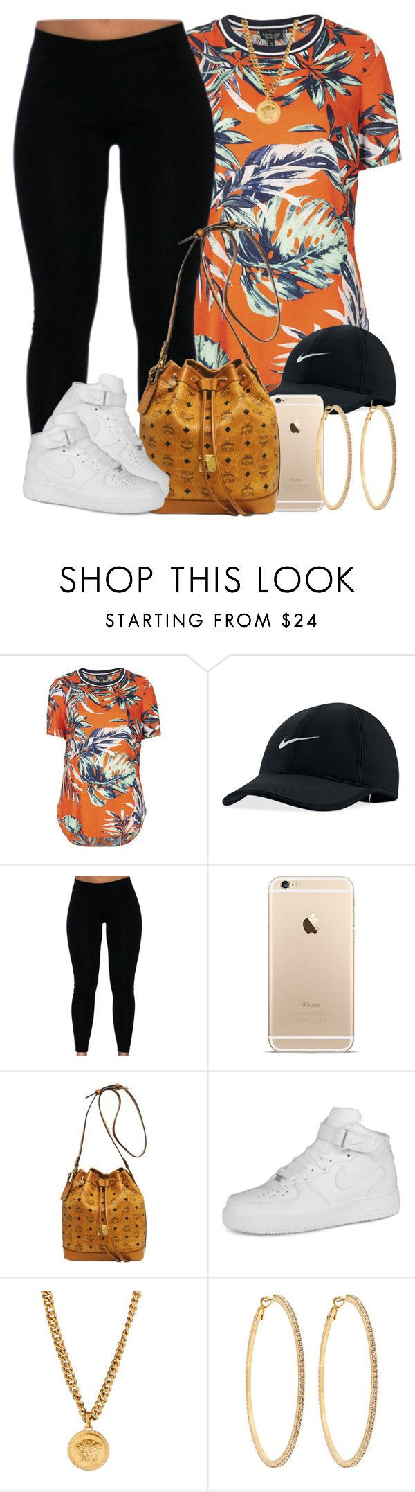 """Finally Friday "" by livelifefreelyy ❤ liked on Polyvore featuring Topshop, NIKE, MCM, Versace and Roberta Chiarella"