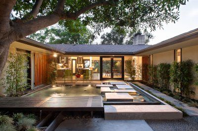 John Galbaith 1960 Pasadena Courtyard design, Mid