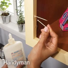 Lots of tips for fixing cabinet issues (loose hinges, hanging or warped doors, make drawers slide again, etc.