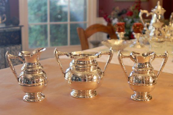 Please take time to look at all the photos. The ZOOM feature is amazing!  This set is a beautiful example of Aesthetic Movement Period silver plate.