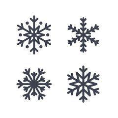 Schneeflockenikonen eingestellt. Graue Schattenbildschneeflockenzeichen, lokalisiert auf weißem Hintergrund. Flaches Design. Symbol für Winter, Schnee, Weihnachten, Neujahrsfeiertag. Grafische Elementdekoration Vektorillustration – Michelle Rose
