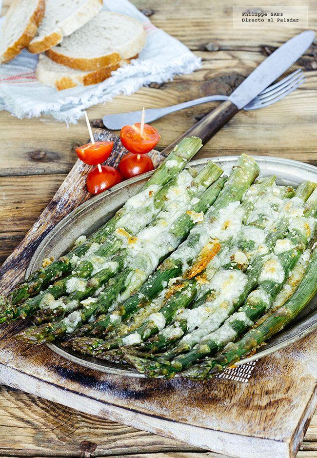 Receta de espárragos gratinados con mozzarella. receta con fotografías del paso a paso y recomendaciones de degustación. Recetas de vegetales as...
