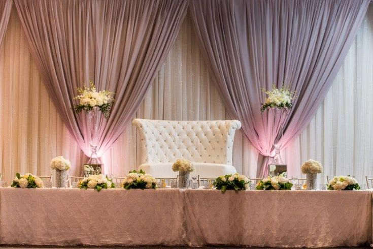 Head Table - Love Seat Couch for the Bride and Groom, Roses and Hydrangea arrangements, very elegant http://www.fusion-events.ca/