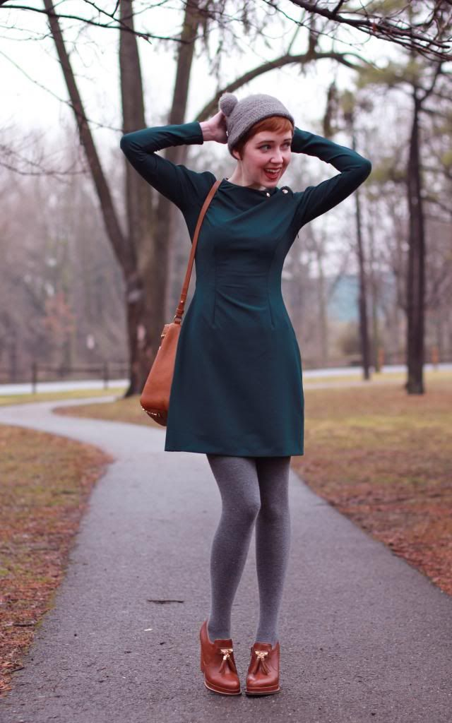 A Clothes Horse: Grey Day green dress pom pom hat
