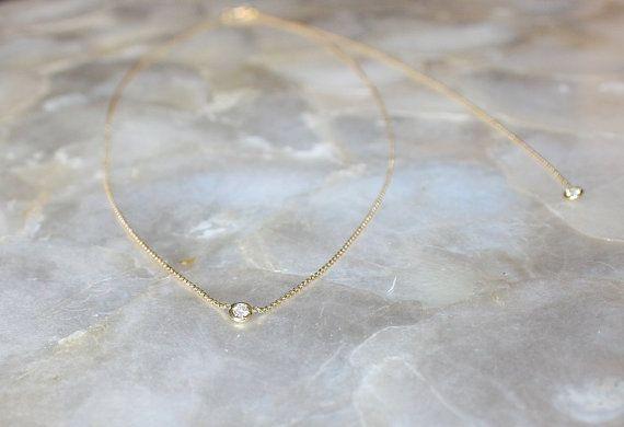 Solitaire diamond and 18k yellow gold necklace with diamond back hanger, Bezel set diamond necklace, Bezel diamond pendant, Bride necklace