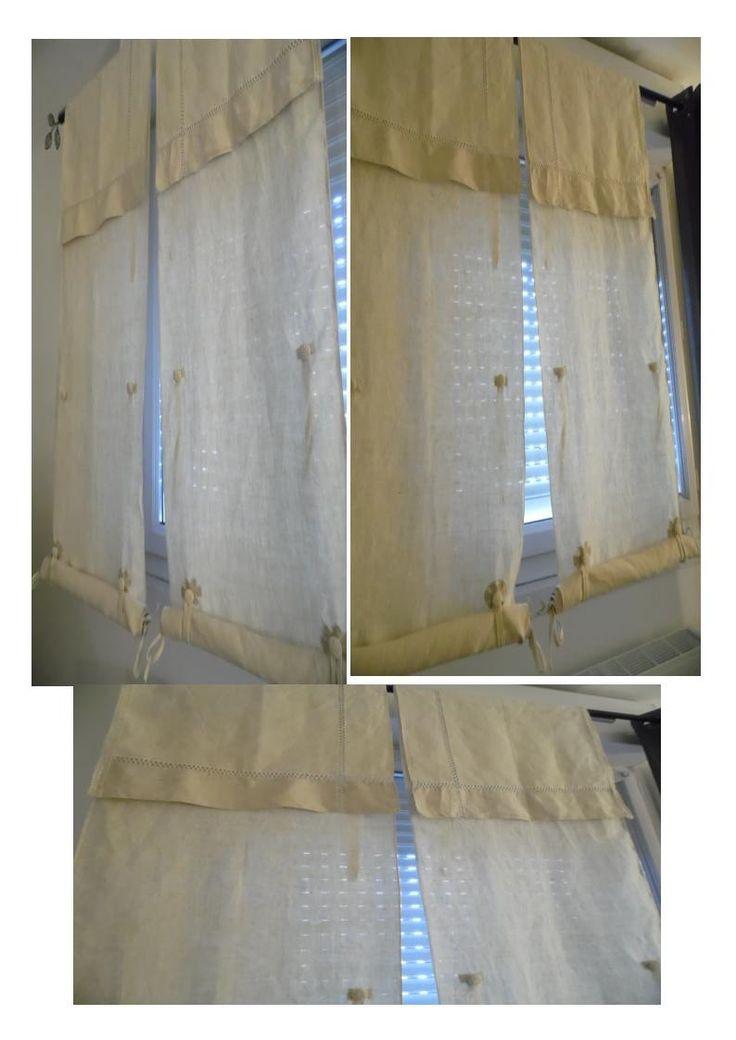 rideaux stores faits avec draps anciens en lin et 3 niveaux de relevage manuel textiles. Black Bedroom Furniture Sets. Home Design Ideas