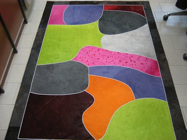 tappeto pelle leather Patchwork rug Tavolozza • Design