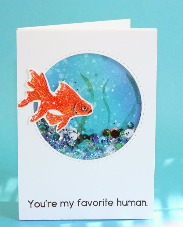Hero Arts Layering goldfish shaker card