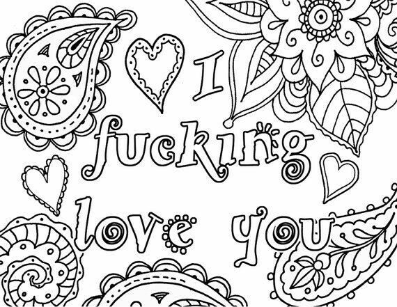 I Fcking Love You Adult Coloring Book Page Instant By Artswearapy Davlin Publishing