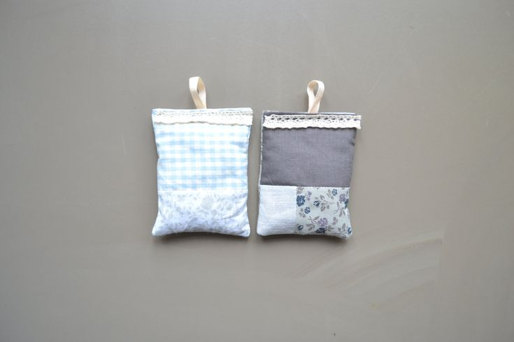 grey patchwork lavender sachets - bedroom scent - grey lavender pillows with loop - housewarming gift - stocking stuffer - mothersday gift