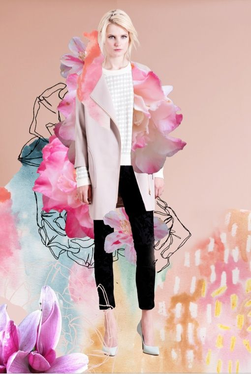 Digital collage fashion illustration for Warehouse/Warestyle and Elle UK by Elizabeth Rachael