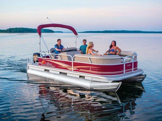 2014 Sun Tracker Signature Party Barge 18 DLX for sale at Bradford Marine & ATV.