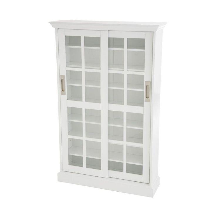 home decorators collection 536disc white sliding door media cabinet